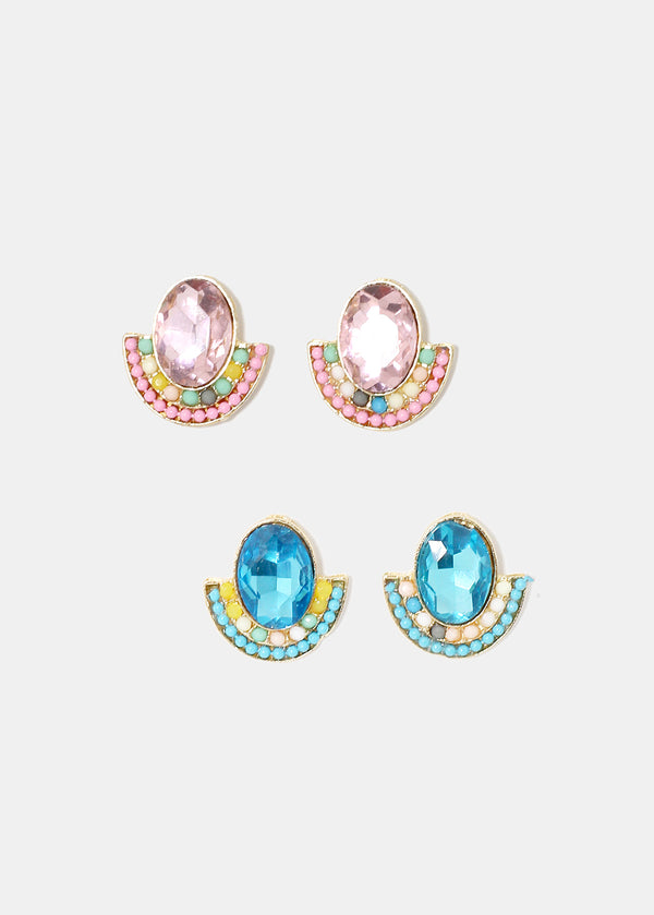 Oval Gem Semicircle Earrings