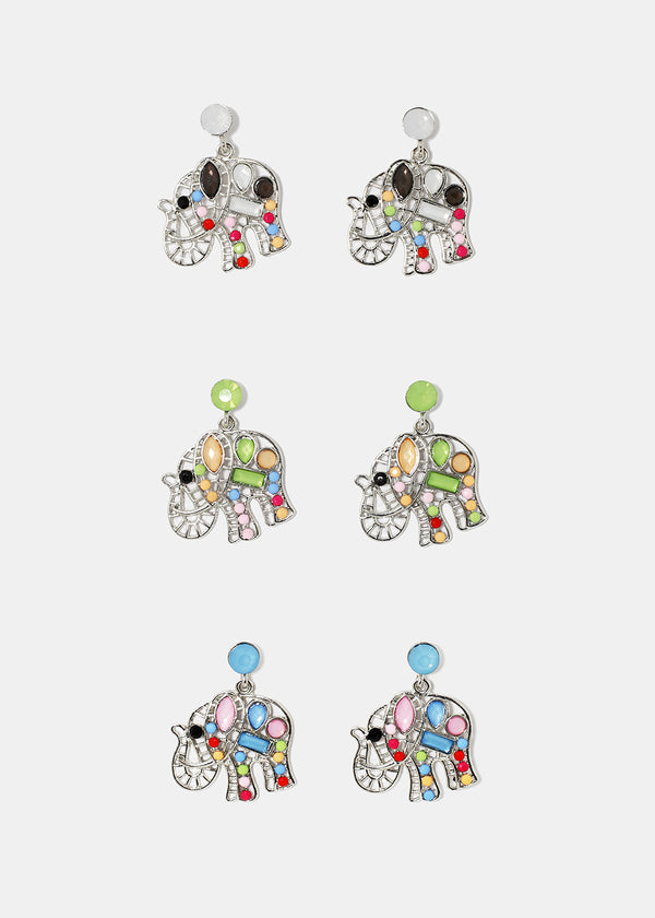 Mosaic Elephant Dangle Earrings