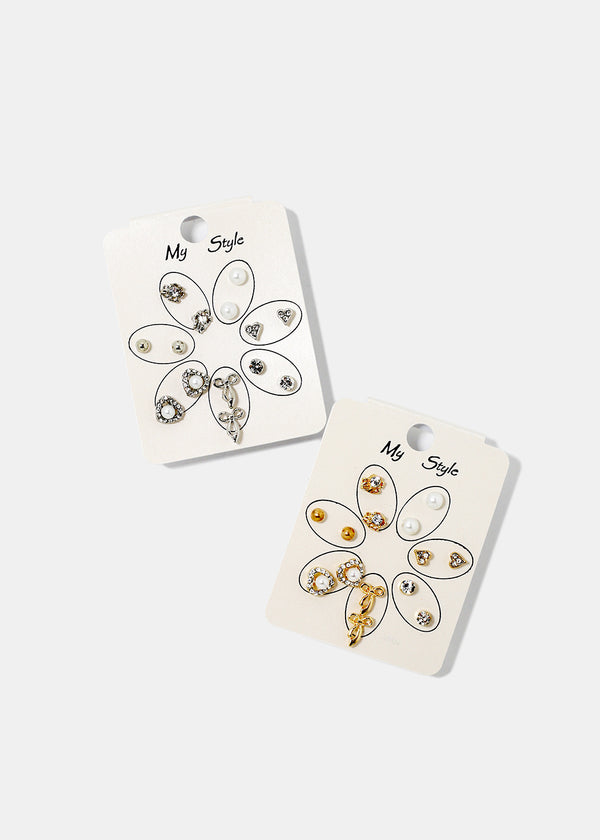 7-Pair Multi Design Stud Set