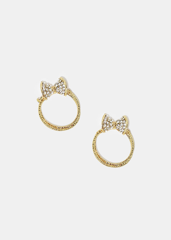 3-Pair Rhinestone Bow Hoop Earrings Set