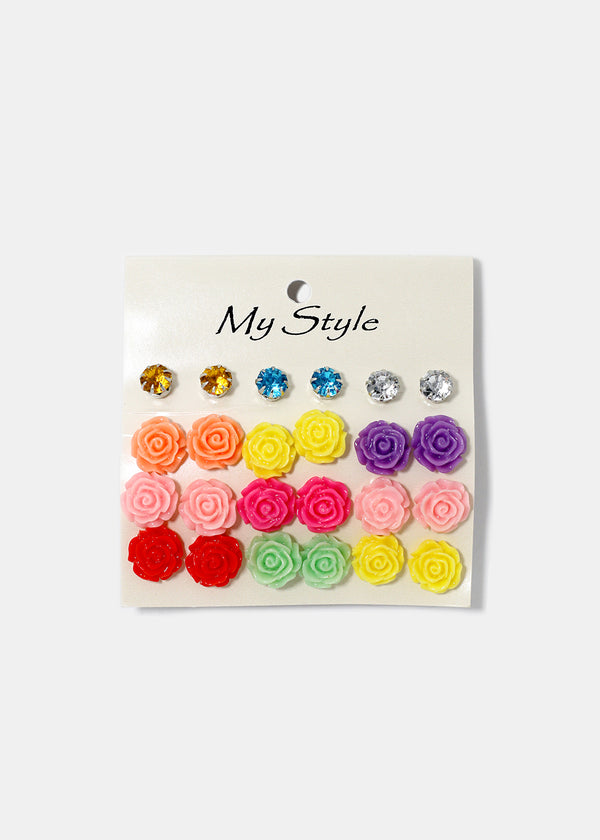 12-Pair Flower & Rhinestone Stud Set
