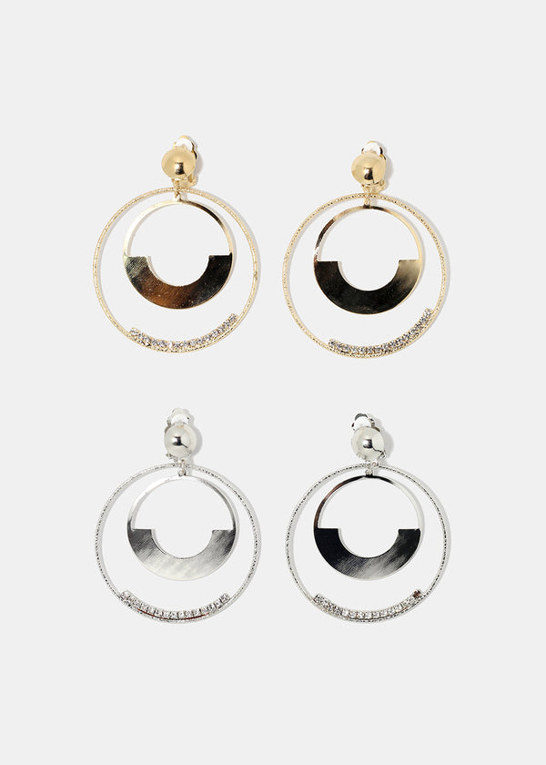 Metal Plated Rhinestone Hoop Earrings