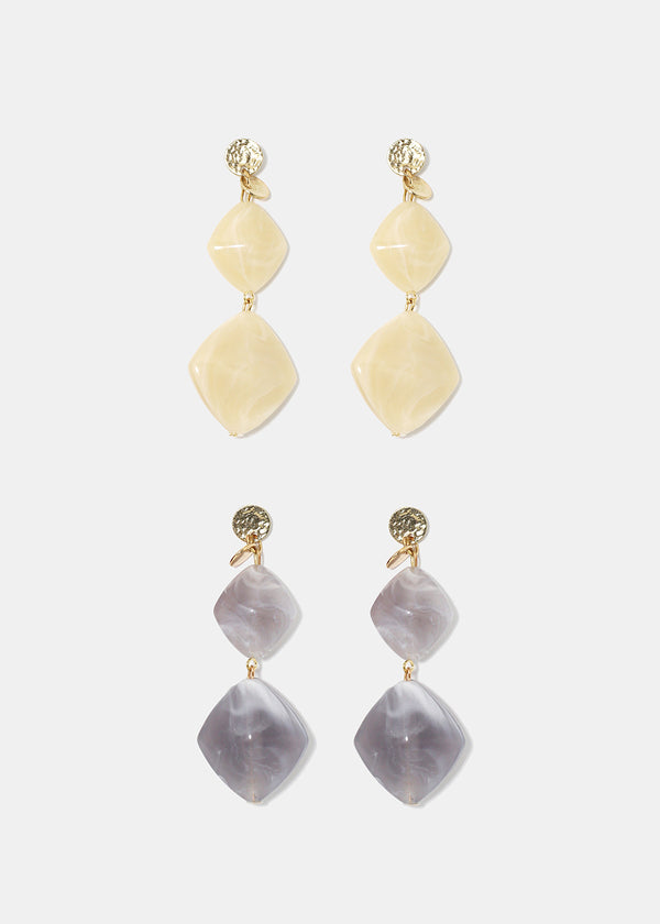 Rhombus Stone Drop Earrings