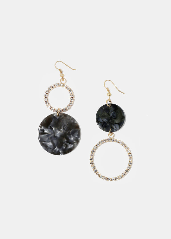 Resin Disc & Rhinestone Earrings