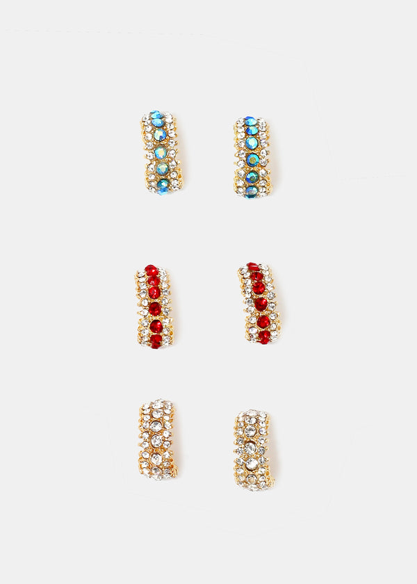 Rhinestone Curved Earrings
