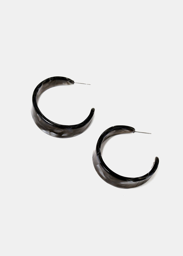 Marbled Resin Hoop Earrings