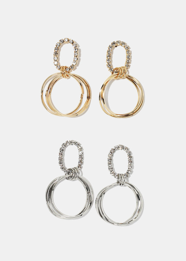 Rhinestone Oval Linked Hoop Earrings
