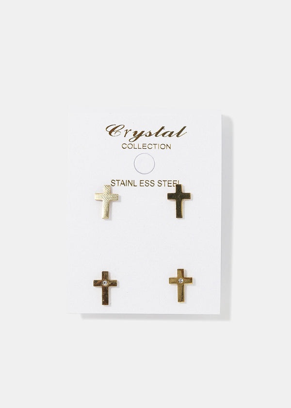 2-Pair Cross Stud Set