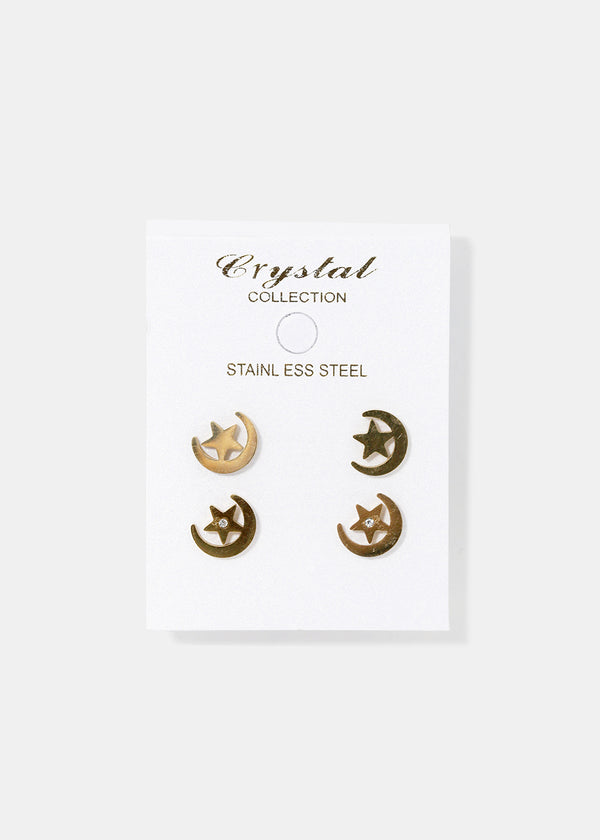 Star Heart & Moon Earrings