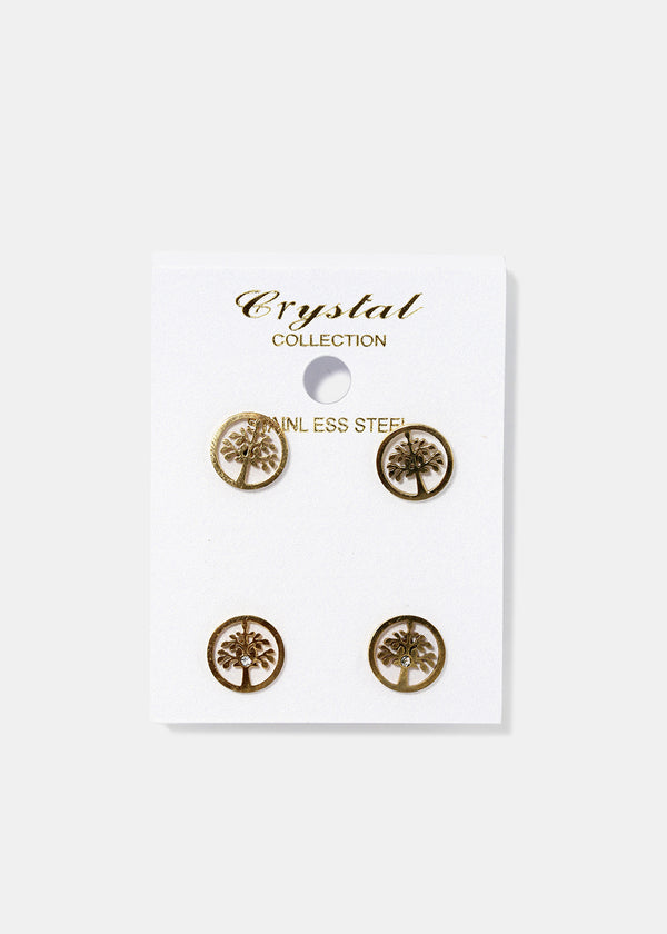 2-Pair Tree Stud Earrings