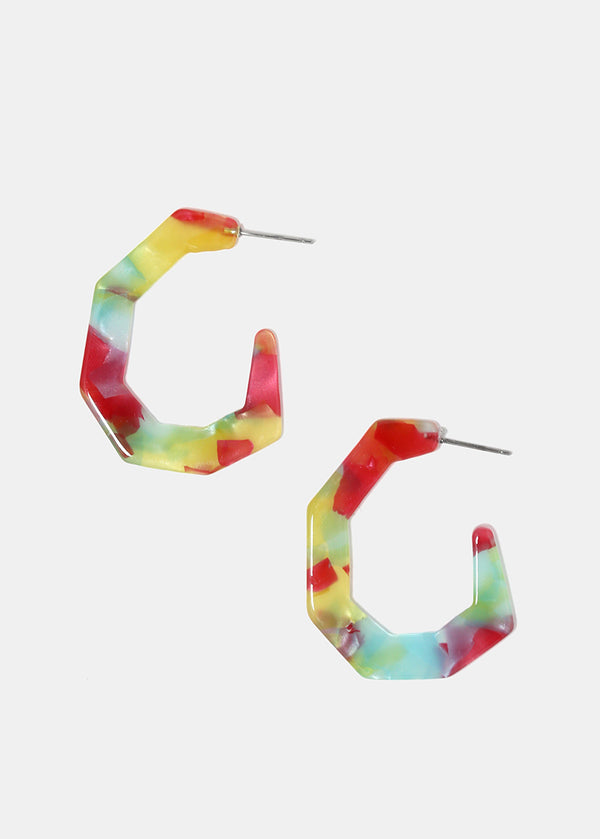 Open Hoop Resin Earrings
