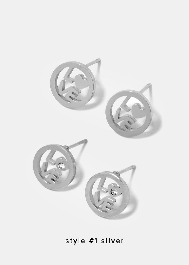 Circle Love Stud Earrings