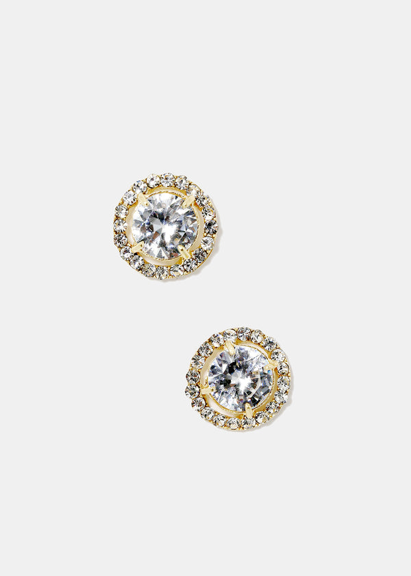 Gemstone Circle Stud Earrings