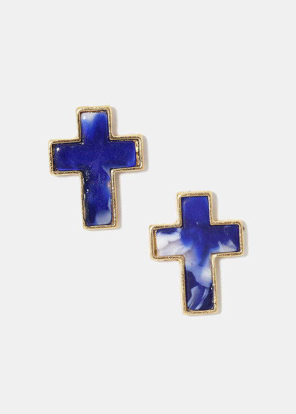 Marbled Enamel Cross Earrings