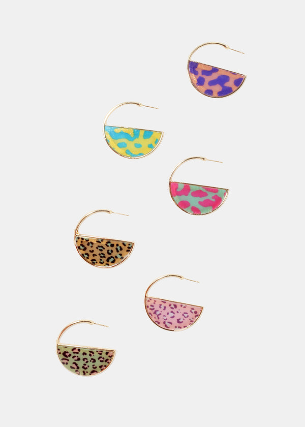 Animal Print Half Moon Hoops