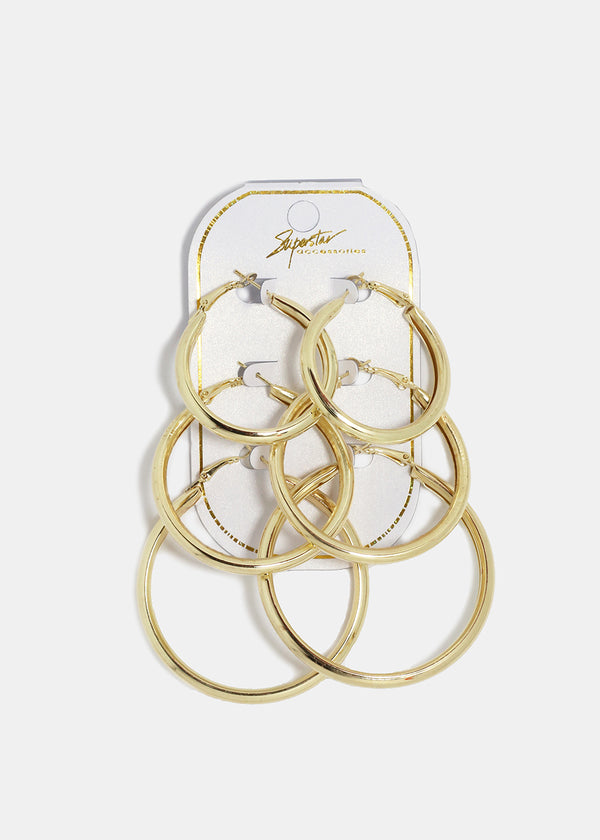 3-Pair Thick Smooth Metal Hoops