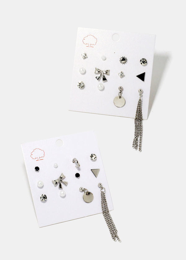 12-Piece Bow & Chain Multi Stud Set