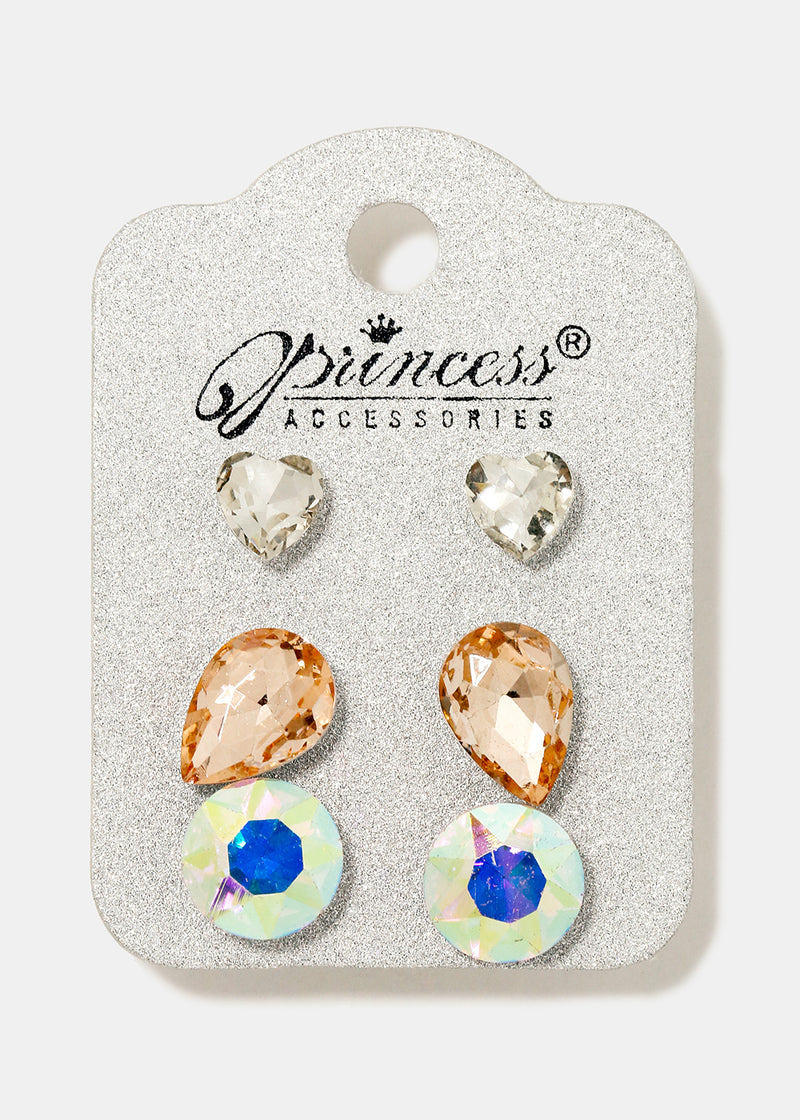3-Pair Multi Gem Stud Set