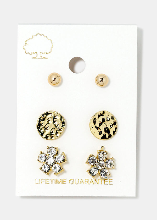 3-Pair Rhinestone Flower Stud Set