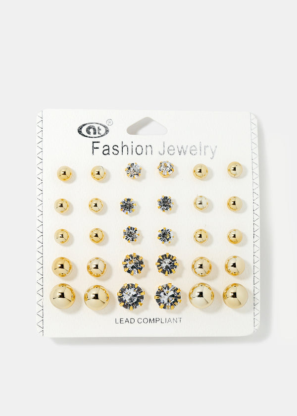 15-Piece Ball & Rhinestone Stud Set