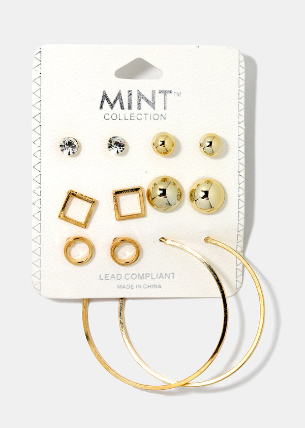6-Piece Square Stud & Hoop Set