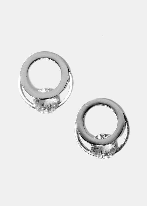 Silver Layered Circle Gem Studs