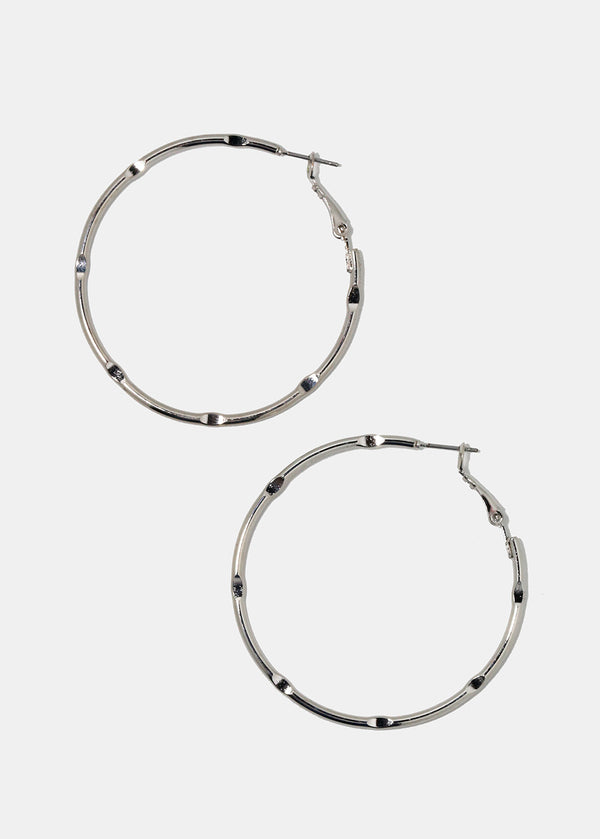 Large Silver Ridged Hoops