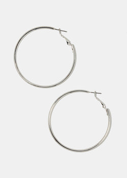 Silver Smooth Metal Hoops