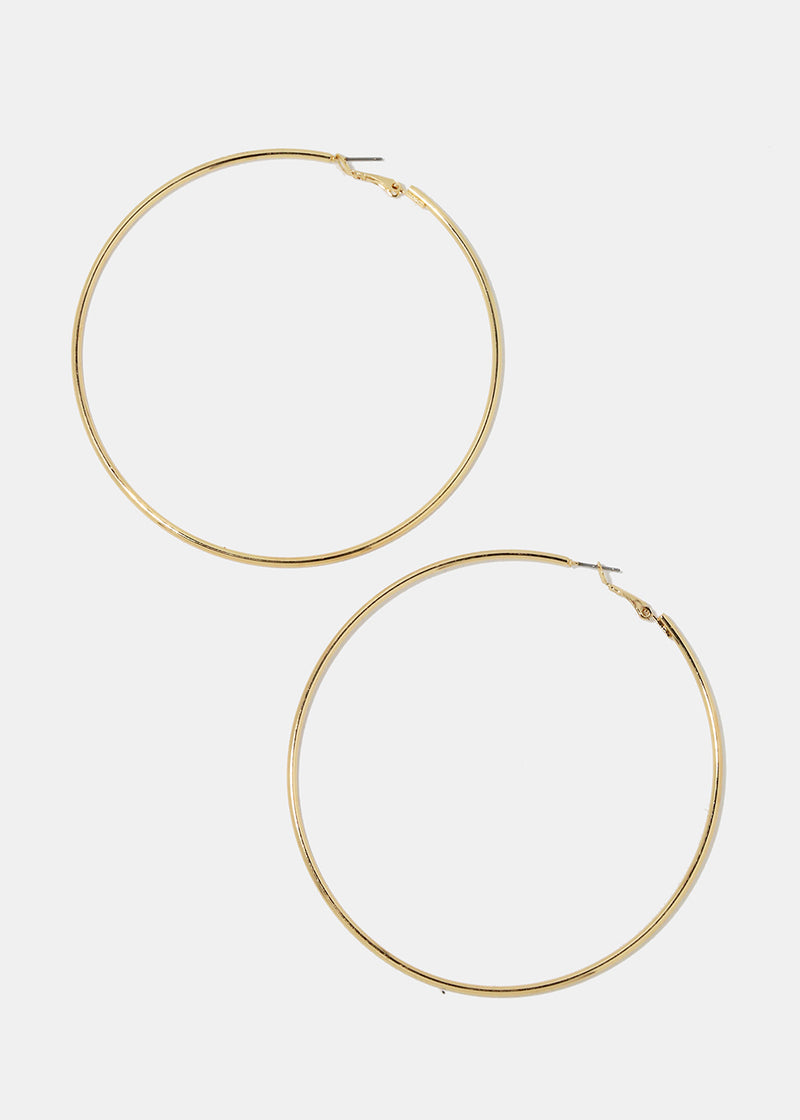 XL Gold Smooth Metal Hoops