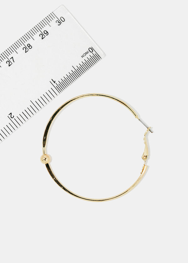 Gold Metal Ball Hoop Earrings