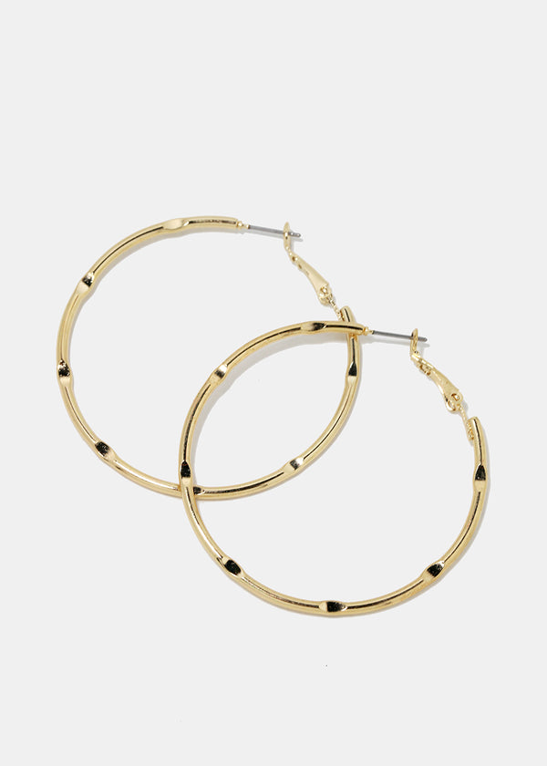 Gold Ridged Design Hoop Earrings