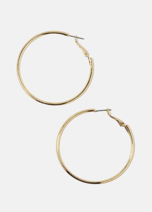 Medium Gold Smooth Metal Hoops