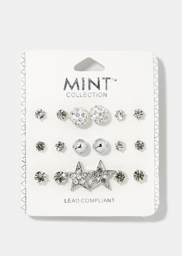 9-Pair Rhinestone Star & Ball Stud Set