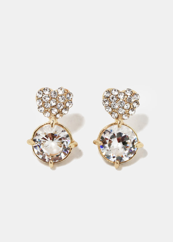 Rhinestone Studded Heart Earrings