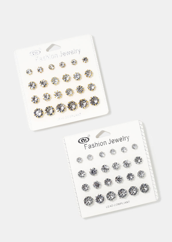 12-Pair Rhinestone Stud Set