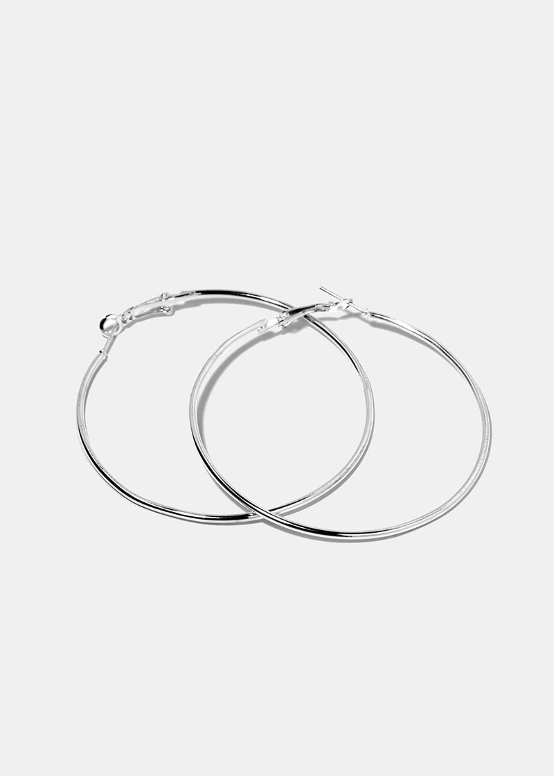 6-Pair Silver Hoop Earrings