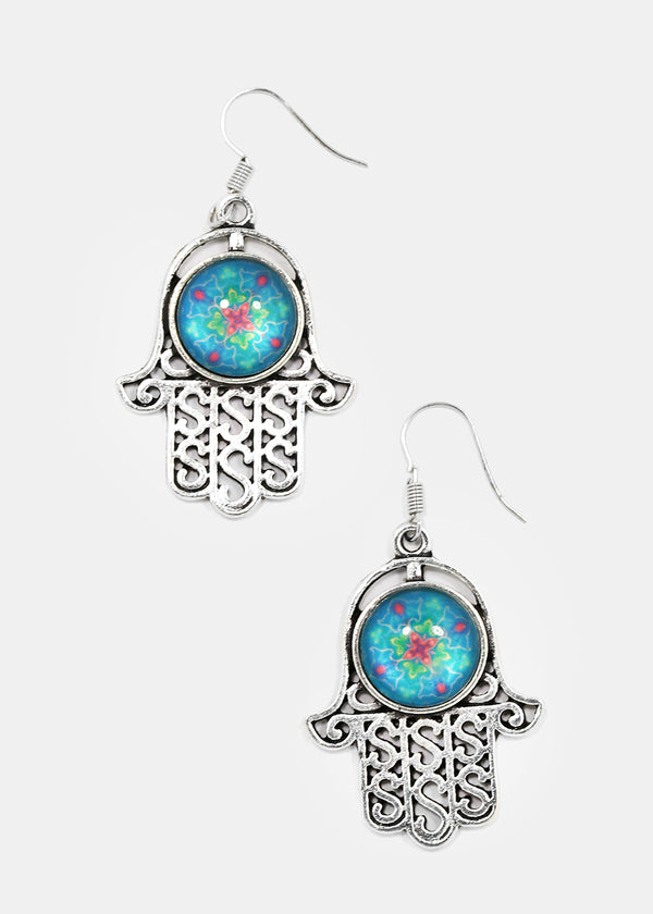 Hamsa Hand Mandala Earrings