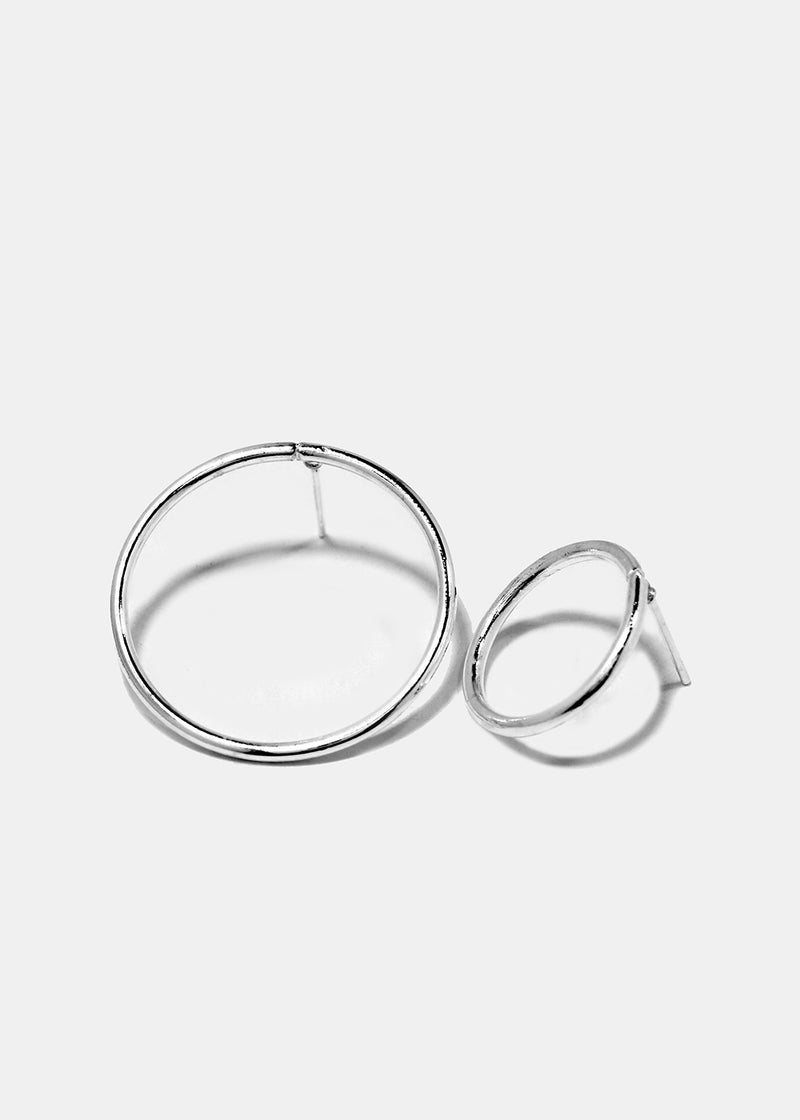 4-Piece Metal Ball & Circle Earrings