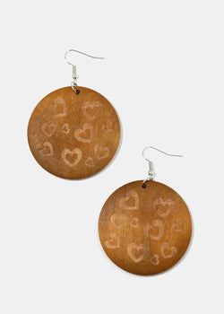 Heart Print Wooden Disc Earrings Shop Miss A