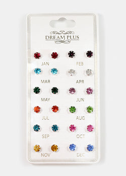 12-Pair Birthstone Stud Earrings