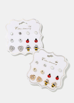 6-Pair Ladybug & Bee Stud Earrings