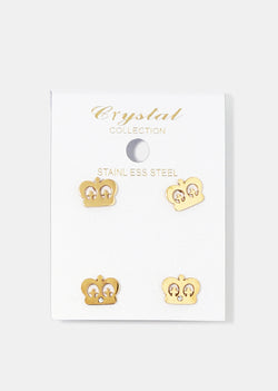 2-Pair Crown Stud Earrings