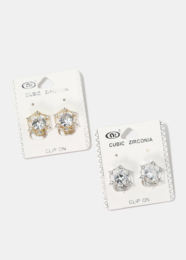 Round Stud Clip-On Earrings