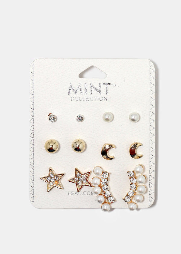 6-Pair Moon & Star Multi Stud Set