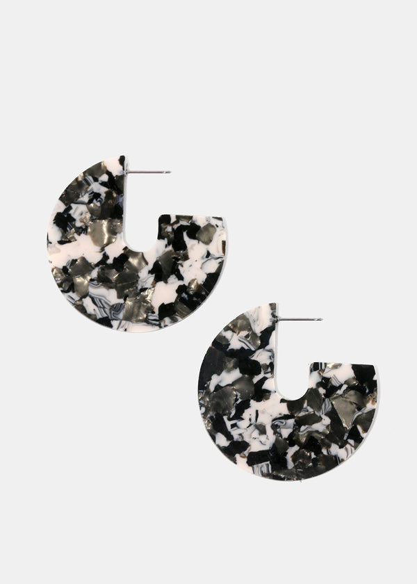 Round Marbled Resin Disc Earrings