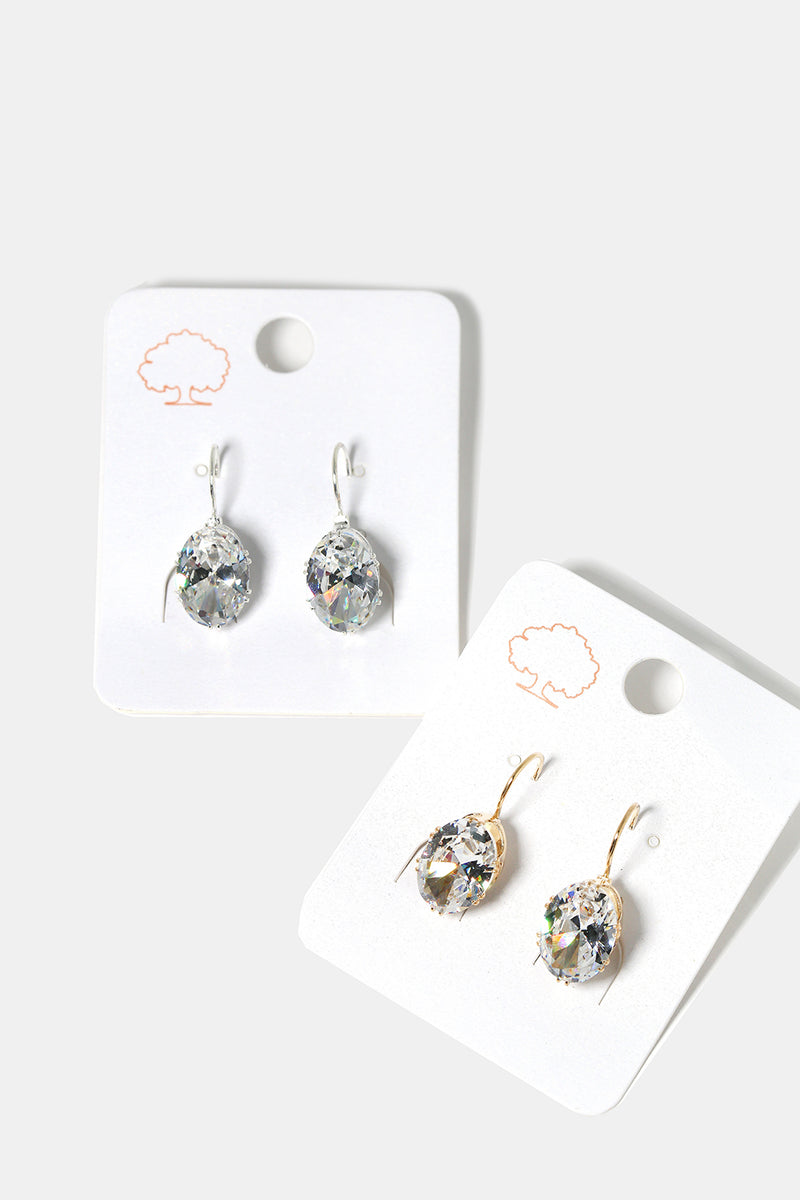 Dangling Rhinestone Oval Earrings