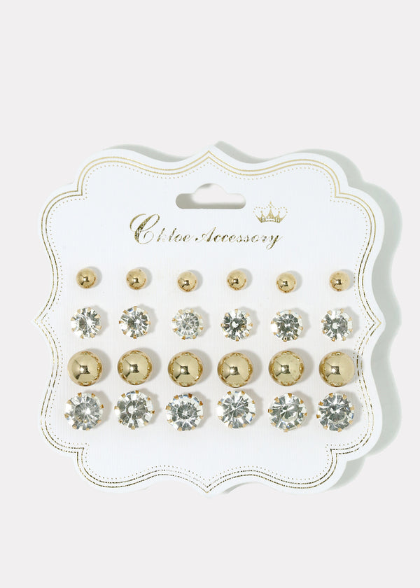 12-Pair Rhinestone & Metal Ball Studs