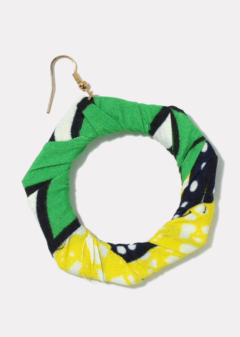 Multi Print Heptagon Hoop Earrings