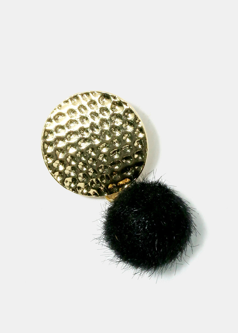 Hammered Disc Pom-Pom Earrings