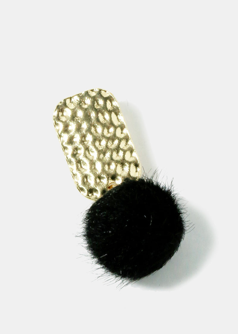 Hammered Metal Rectangle Pom Earrings